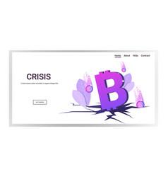 fallen in price bitcoin collapse crypto vector image