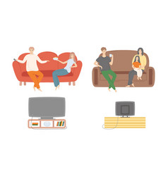 family spending time at home people watching tv vector image