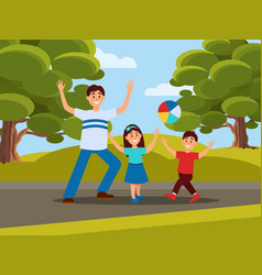 Father with his kids playing in ball family vector