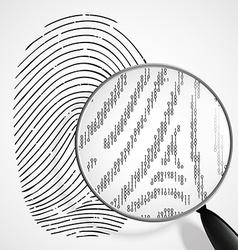 Fingerprint and magnifying glass vector