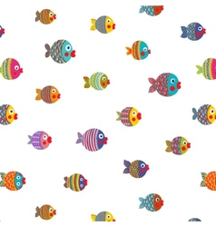 Fish Shoal Bright Cartoon Seamless Pattern vector