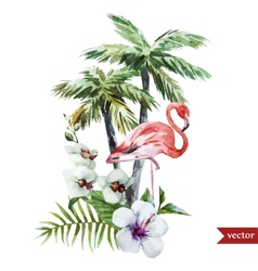 Flamingo with palms and flowers vector image