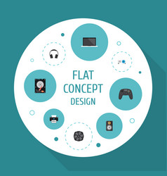 Flat icons controller cooler presentation and vector