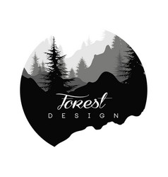 forest logo design nature landscape with vector image