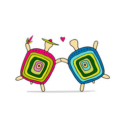 Funny turtle couple sketch for your design vector