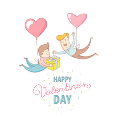 gey men characters flying by heart balloons happy vector image