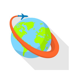 global airplane icon flat style vector image