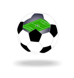 green soccer field inside ball vector image