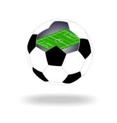 green soccer field inside ball vector image
