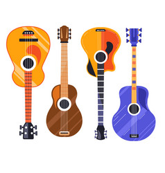 guitar isolated icons string plucked musical vector image