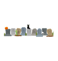 halloween grave and hand of zombie black cat and vector image