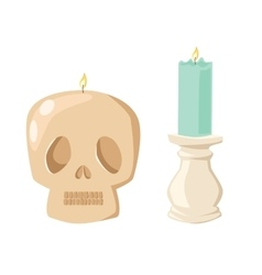 Halloween skull candle with fire vector