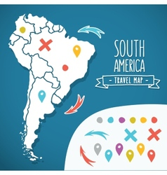 Hand drawn South America travel map with pins vector image