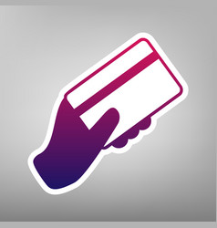 Hand holding a credit card purple vector