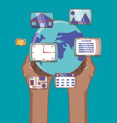 hand holds world social media network multimedia vector image