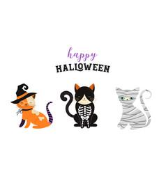 Happy halloween - cats in monsters costumes vector