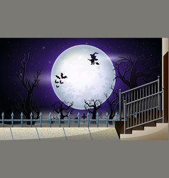 happy halloween with full moon in the night vector image