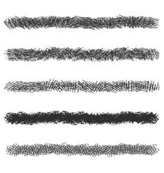 Hatching pencil stroke lines set black pen vector
