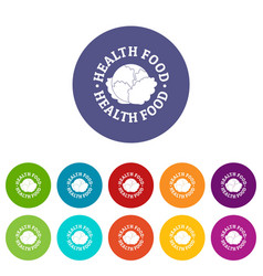 health food icons set color vector image