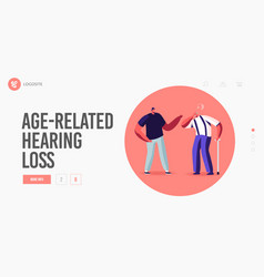 Hear loss deafness landing page template young vector