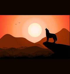 Howling wolf at sunset stands on a rock vector