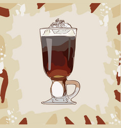 irish cream coffee classic cocktail alcoholic vector image