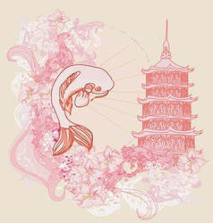 japanese koi and ancient building background vector image