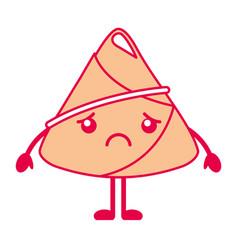 Kawaii sad rice dumpling cartoon vector