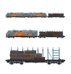 Locomotive with railway platform vector