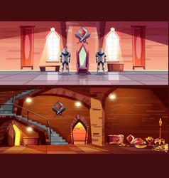 Medieval castle ballroom dungeon interior vector