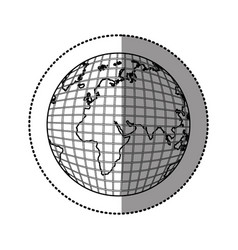monochrome contour sticker with world map vector image