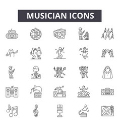 Musician line icons signs set linear vector