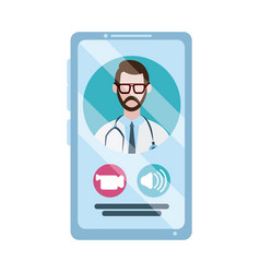 online doctor physician smartphone video call vector image