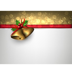 Paper card with golden christmas bells vector image