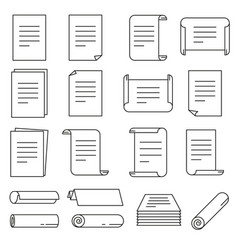 Paper icon set in thin line style vector