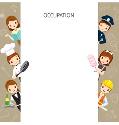 People With Different Occupations Set On Frame vector