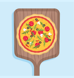 pizza on a wooden shovel for a stove vector image