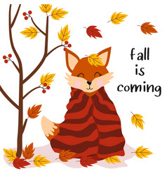 Poster fall is coming with fo vector