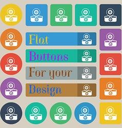 retro photo camera icon sign Set of twenty colored vector image