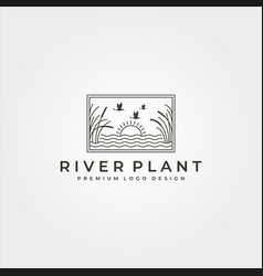 river plant and landscape logo line art symbol vector image
