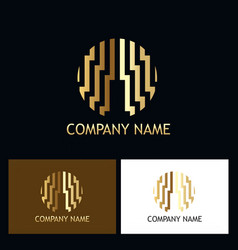 Round line geometry abstract gold company logo vector