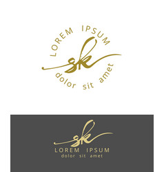 S k handdrawn brush monogram calligraphy logo vector