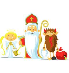 saint nicholas devil and angel vector image