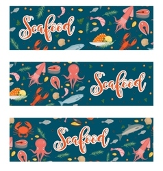 Sea food horizontal banner flat style Seafood vector