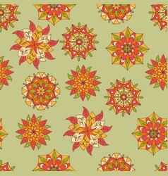 Seamless pattern with bright sunny mandalas vector