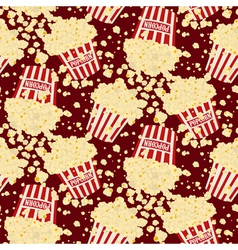 Seamless popcorn bag background vector image