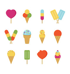 set collection of twelve ice cream icons vector image