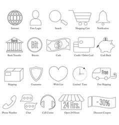 set e-commerce line icon editable stroke vector image