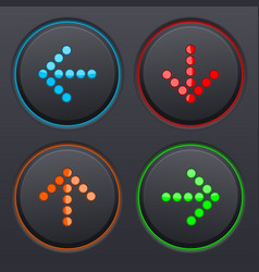 Set of black buttons with colored dotted direction vector