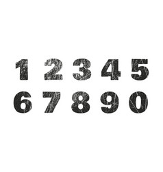 Set of grunge numbers with peeled metal texture vector